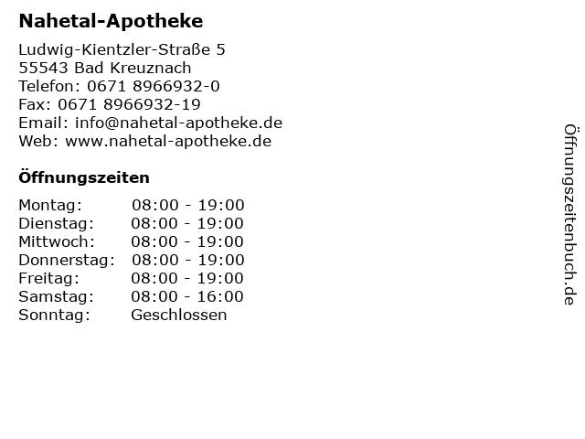Nahetal-Apotheke in Bad Kreuznach: Adresse und Öffnungszeiten