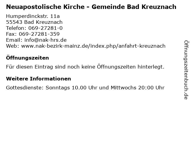 Neuapostolische Kirche - Gemeinde Bad Kreuznach in Bad Kreuznach: Adresse und Öffnungszeiten
