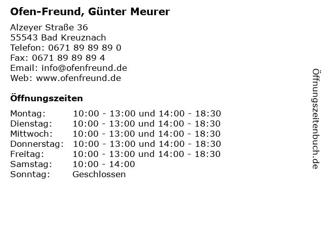 Ofen-Freund, Günter Meurer in Bad Kreuznach: Adresse und Öffnungszeiten