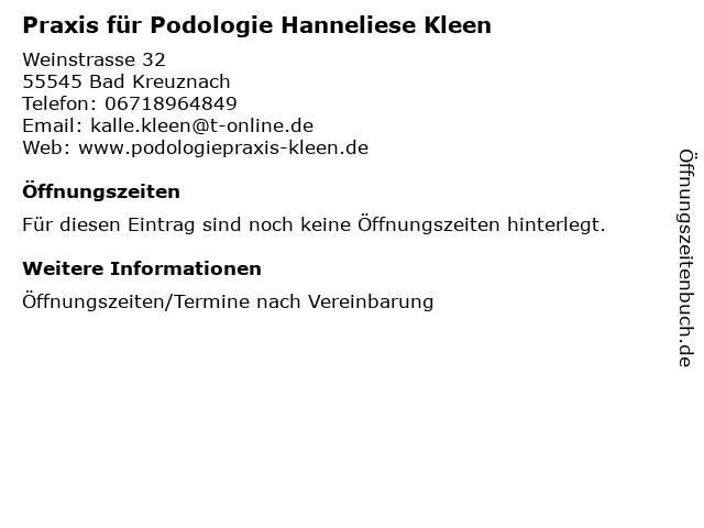Praxis für Podologie Hanneliese Kleen in Bad Kreuznach: Adresse und Öffnungszeiten