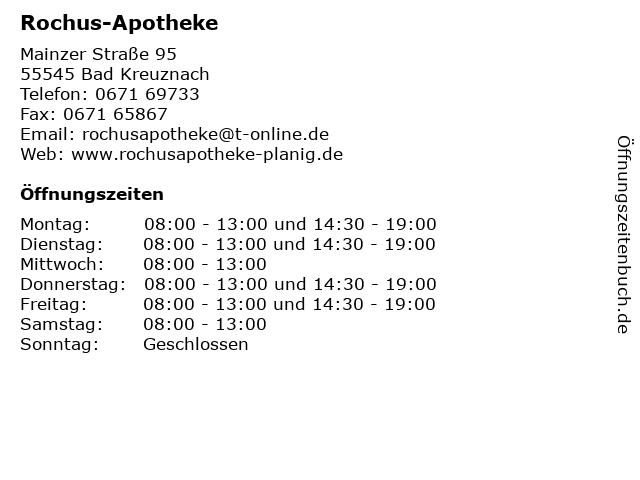 Rochus-Apotheke in Bad Kreuznach: Adresse und Öffnungszeiten