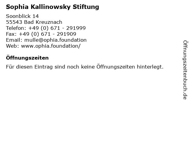 Sophia Kallinowsky Stiftung in Bad Kreuznach: Adresse und Öffnungszeiten