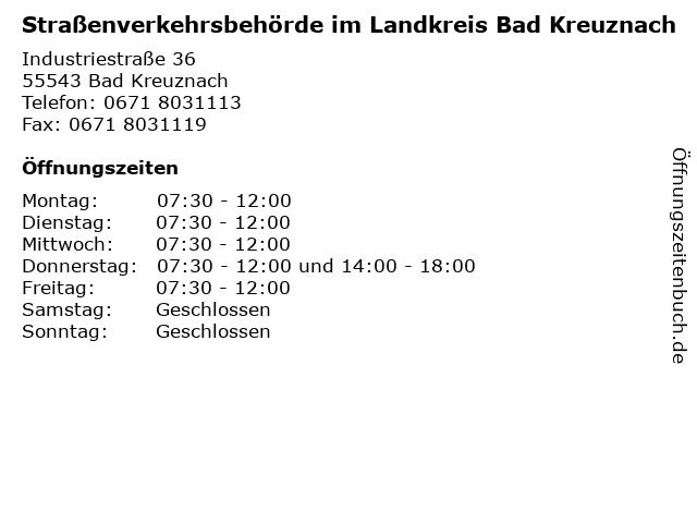 Straßenverkehrsbehörde im Landkreis Bad Kreuznach in Bad Kreuznach: Adresse und Öffnungszeiten