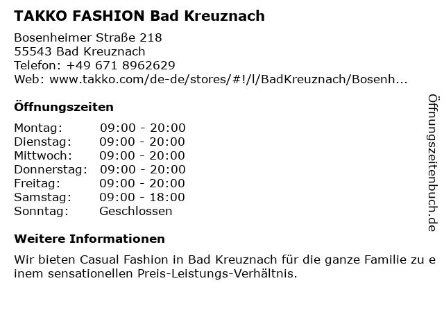 Takko Fashion in Bad Kreuznach: Adresse und Öffnungszeiten