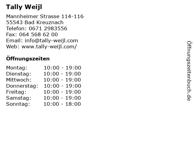 Tally Weijl in Bad Kreuznach: Adresse und Öffnungszeiten