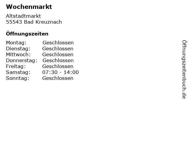 Wochenmarkt in Bad Kreuznach: Adresse und Öffnungszeiten