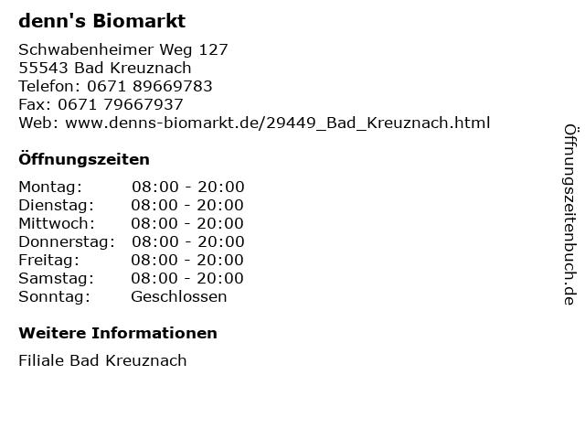 denn's Biomarkt in Bad Kreuznach: Adresse und Öffnungszeiten