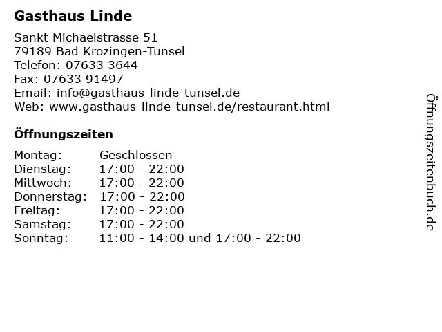 Gasthaus Linde in Bad Krozingen-Tunsel: Adresse und Öffnungszeiten