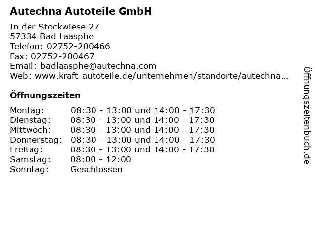 Autechna Autoteile GmbH in Bad Laasphe: Adresse und Öffnungszeiten