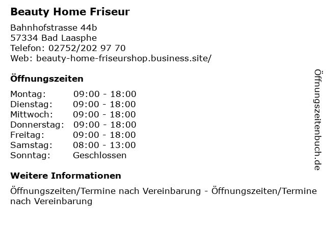 Beauty Home Friseur in Bad Laasphe: Adresse und Öffnungszeiten
