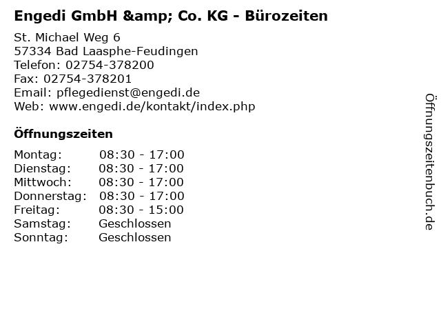 Engedi GmbH & Co. KG - Bürozeiten in Bad Laasphe-Feudingen: Adresse und Öffnungszeiten