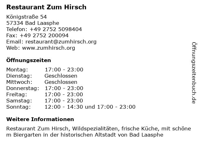 ᐅ öffnungszeiten Restaurant Zum Hirsch Königstraße 54 In Bad