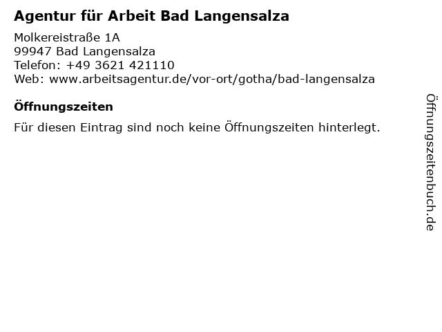 Agentur für Arbeit in Bad Langensalza: Adresse und Öffnungszeiten