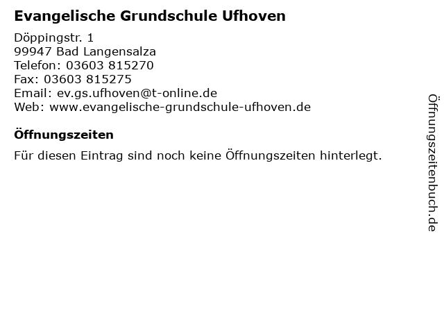 Evangelische Grundschule Ufhoven in Bad Langensalza: Adresse und Öffnungszeiten