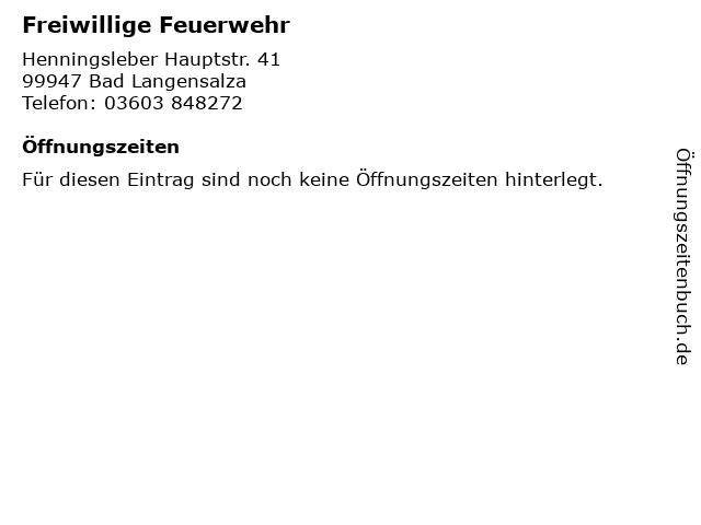 Freiwillige Feuerwehr in Bad Langensalza: Adresse und Öffnungszeiten