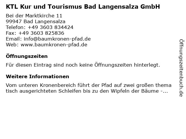 KTL Kur und Tourismus Bad Langensalza GmbH in Bad Langensalza: Adresse und Öffnungszeiten