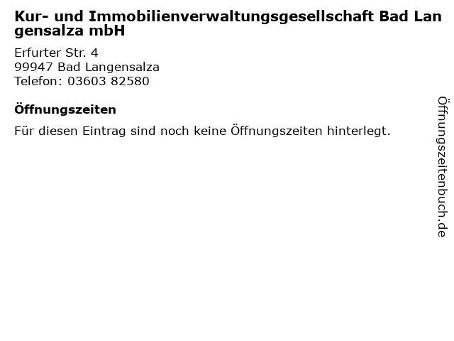 Kur- und Immobilienverwaltungsgesellschaft Bad Langensalza mbH in Bad Langensalza: Adresse und Öffnungszeiten