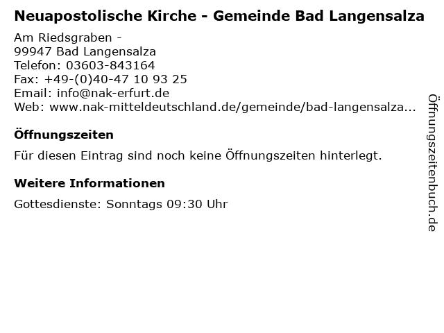 Neuapostolische Kirche - Gemeinde Bad Langensalza in Bad Langensalza: Adresse und Öffnungszeiten
