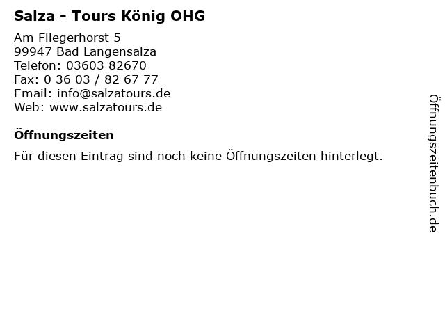 Salza - Tours König OHG in Bad Langensalza: Adresse und Öffnungszeiten