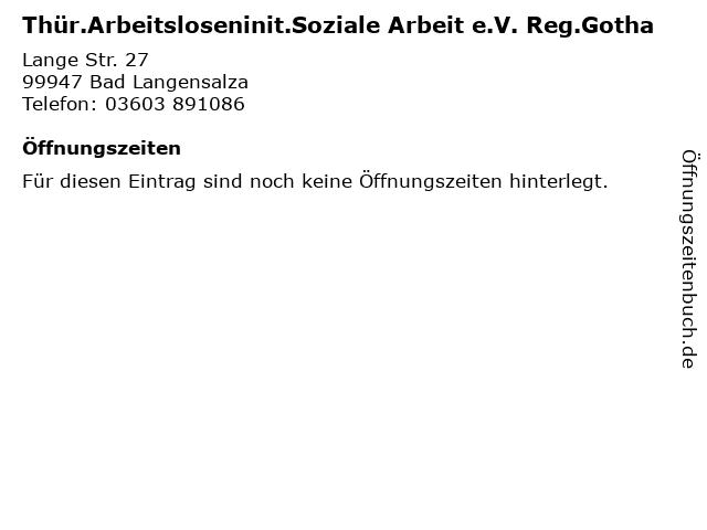 Thür.Arbeitsloseninit.Soziale Arbeit e.V. Reg.Gotha in Bad Langensalza: Adresse und Öffnungszeiten