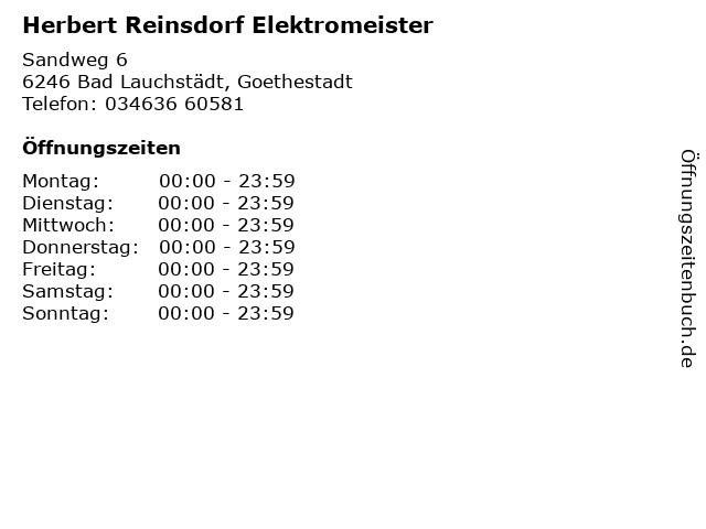 Herbert Reinsdorf Elektromeister in Bad Lauchstädt, Goethestadt: Adresse und Öffnungszeiten