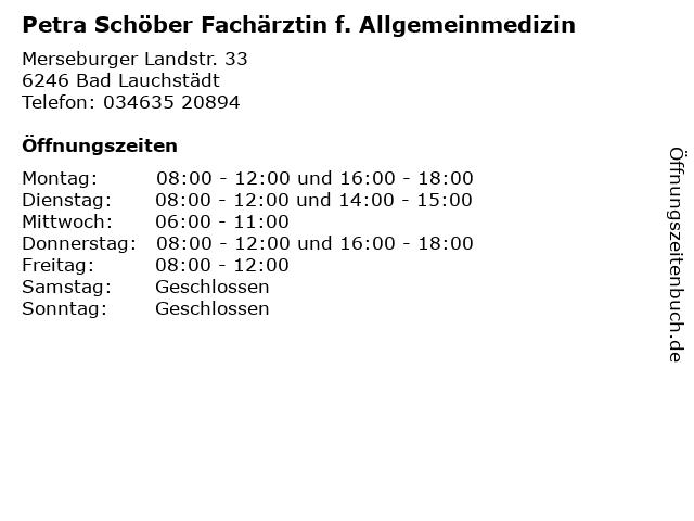 Petra Schöber Fachärztin f. Allgemeinmedizin in Bad Lauchstädt: Adresse und Öffnungszeiten