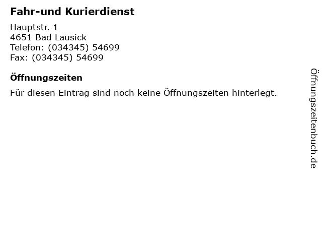 Fahr-und Kurierdienst in Bad Lausick: Adresse und Öffnungszeiten