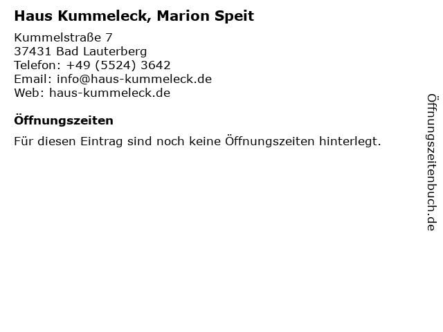 Haus Kummeleck, Marion Speit in Bad Lauterberg: Adresse und Öffnungszeiten