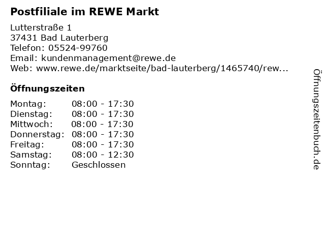 Deutsche Post Filiale im REWE Markt in Bad Lauterberg: Adresse und Öffnungszeiten