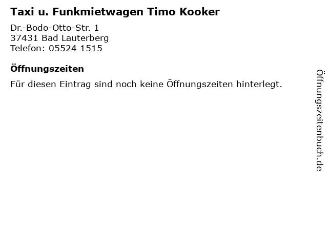 Taxi u. Funkmietwagen Timo Kooker in Bad Lauterberg: Adresse und Öffnungszeiten