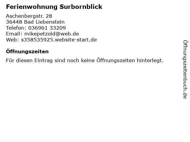 Ferienwohnung Surbornblick in Bad Liebenstein: Adresse und Öffnungszeiten