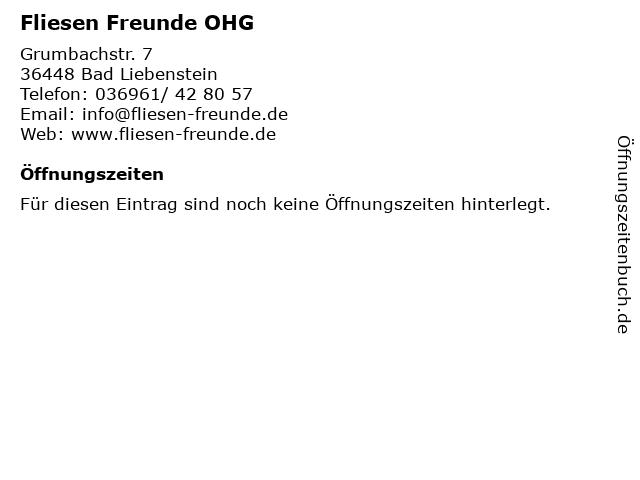 Fliesen Freunde OHG in Bad Liebenstein: Adresse und Öffnungszeiten