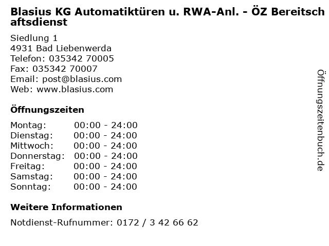 Blasius KG Automatiktüren u. RWA-Anl. - ÖZ Bereitschaftsdienst in Bad Liebenwerda: Adresse und Öffnungszeiten
