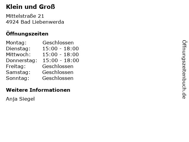 Klein und Groß in Bad Liebenwerda: Adresse und Öffnungszeiten