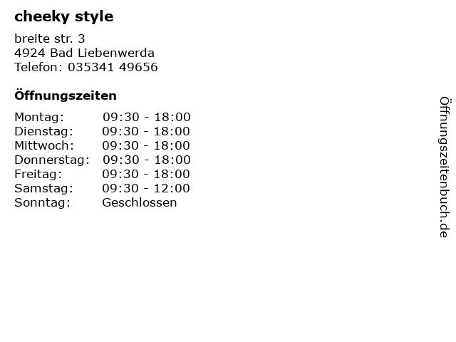 cheeky style in Bad Liebenwerda: Adresse und Öffnungszeiten