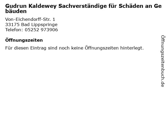 Gudrun Kaldewey Sachverständige für Schäden an Gebäuden in Bad Lippspringe: Adresse und Öffnungszeiten