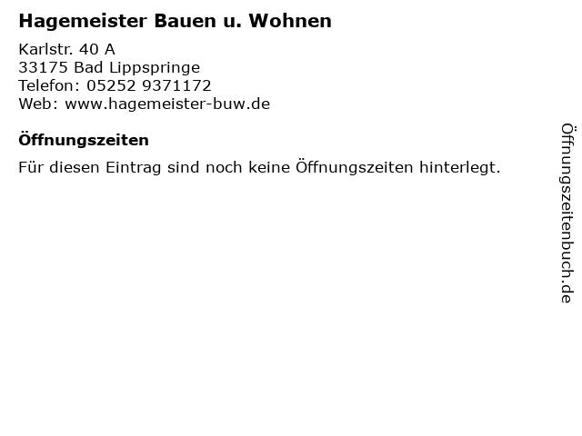 Hagemeister Bauen u. Wohnen in Bad Lippspringe: Adresse und Öffnungszeiten