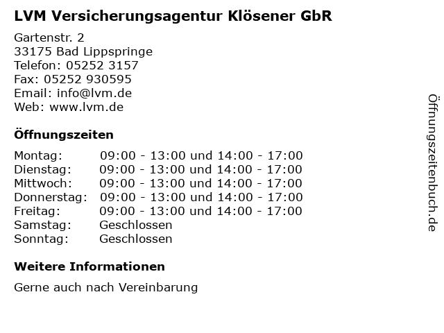 LVM Versicherungsagentur Klösener GbR in Bad Lippspringe: Adresse und Öffnungszeiten