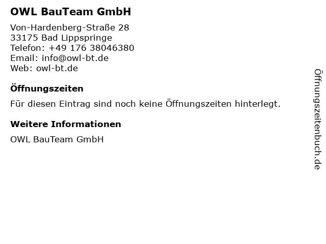 OWL BauTeam GmbH in Bad Lippspringe: Adresse und Öffnungszeiten