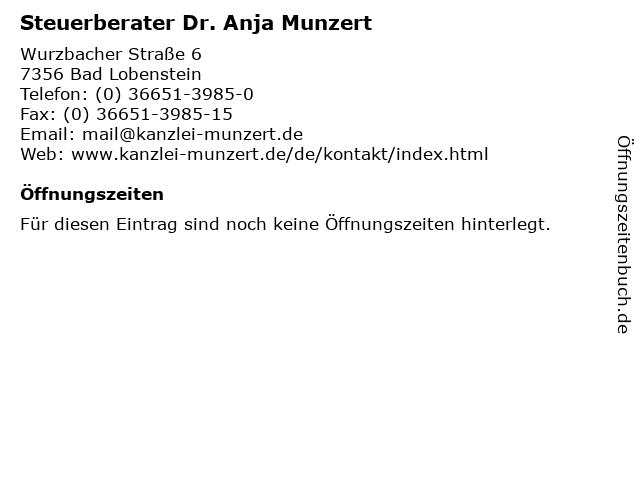 Steuerberater Dr. Anja Munzert in Bad Lobenstein: Adresse und Öffnungszeiten