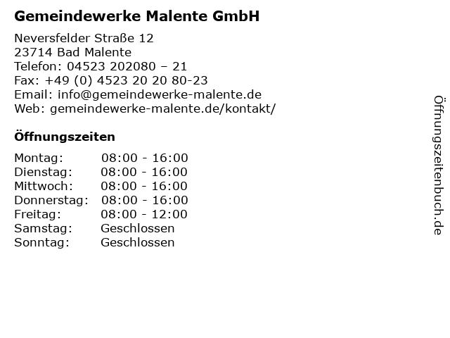 Gemeindewerke Malente GmbH in Bad Malente: Adresse und Öffnungszeiten