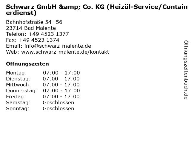 Schwarz GmbH & Co. KG (Heizöl-Service/Containerdienst) in Bad Malente: Adresse und Öffnungszeiten