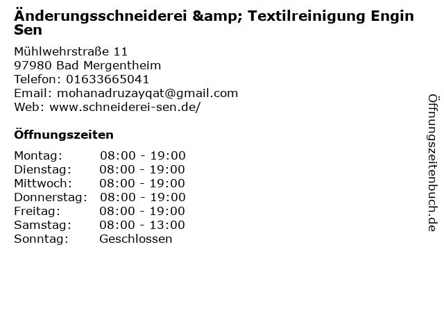 Änderungsschneiderei & Textilreinigung Engin Sen in Bad Mergentheim: Adresse und Öffnungszeiten