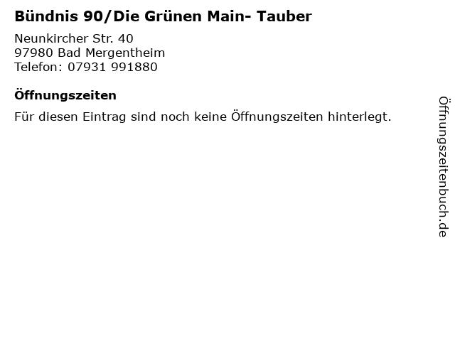 Bündnis 90/Die Grünen Main- Tauber in Bad Mergentheim: Adresse und Öffnungszeiten