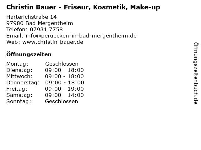 Christin Bauer - Friseur, Kosmetik, Make-up in Bad Mergentheim: Adresse und Öffnungszeiten