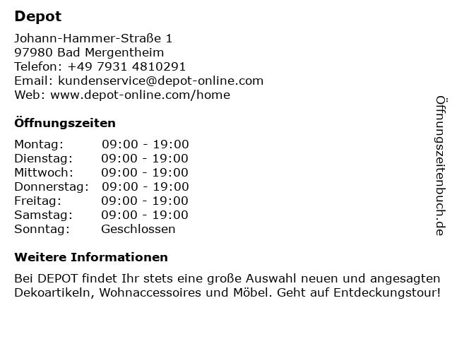 DEPOT Gries Deco Company GmbH in Bad Mergentheim: Adresse und Öffnungszeiten