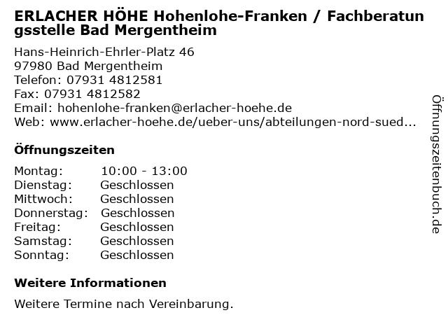 ERLACHER HÖHE Hohenlohe-Franken / Fachberatungsstelle Bad Mergentheim in Bad Mergentheim: Adresse und Öffnungszeiten