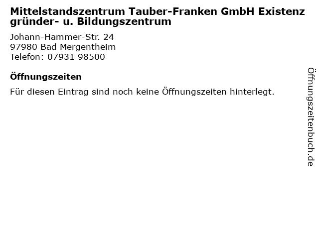 Mittelstandszentrum Tauber-Franken GmbH Existenzgründer- u. Bildungszentrum in Bad Mergentheim: Adresse und Öffnungszeiten