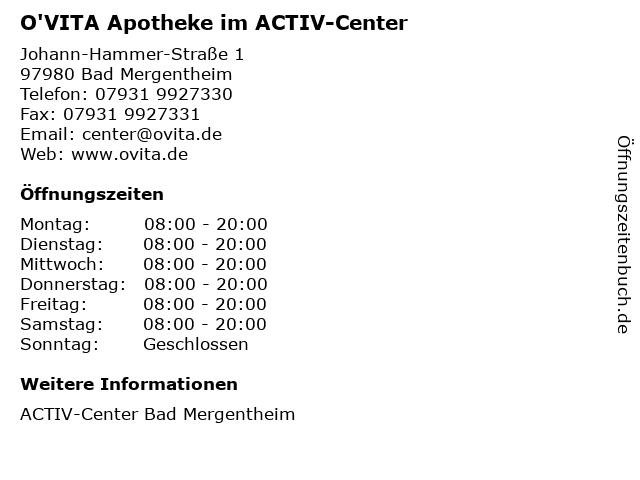 O'VITA Apotheke im ACTIV-Center in Bad Mergentheim: Adresse und Öffnungszeiten