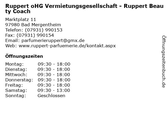 Ruppert oHG Vermietungsgesellschaft - Ruppert Beauty Coach in Bad Mergentheim: Adresse und Öffnungszeiten